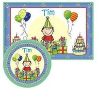 Birthday Placemats with Melamine Plate/Bowl