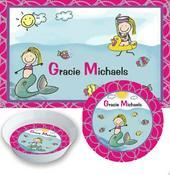 Mermaid & Sea Animal Placemats with Melamine Plate/Bowl