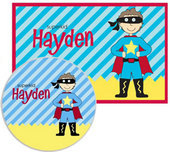 Superhero Placemats with Melamine Plate/Bowl