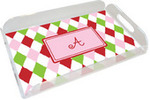 Personalized Holiday Harlequin Lucite Tray