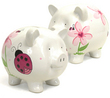 Large Ladybug & Flower Piggy Bank-(Personalization available)