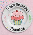 Birthday Plate with Double Pink Cupcake