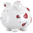 Red Hearts and Ladybugs Large Piggy Bank (Personalization available)