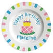 Happy Birthday Cake Personalized Plate for Girls
