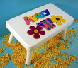 Flower & Butterfly Puzzle Name Stool in White