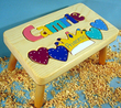 Princess Puzzle Name Stool in Natural Finish