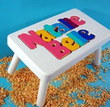 Two Name Puzzle Stool in White Finish