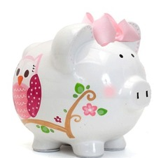 Dotted Owl Piggy Bank Personalization Available Curly Out Of Stock