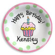 Birthday Cupcake Personalized Plate for Girls