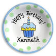 Blue Cupcake Personalized Birthday Plate