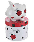 Red Ladybugs & Hearts Small Piggy Bank (Personalization available)