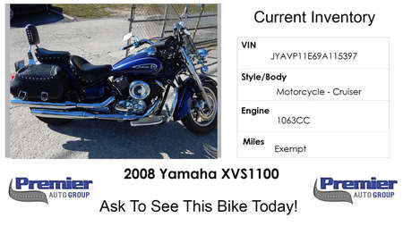 2009 Yamaha XVS650  for Sale  - 115397  - Premier Auto Group