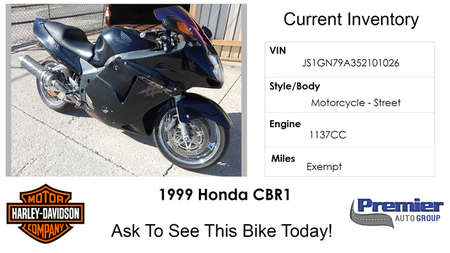 1999 Honda CBR  for Sale  - 200362  - Premier Auto Group