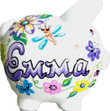 Bright Flowers Personalized Piggy Bank