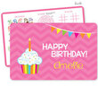 Pink Birthday Cupcake Personalized Activity Placemat