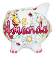 Bright Daisies & Ladybugs Personalized Piggy Bank