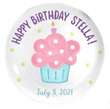 Pink Cupcake Personalized Birthday Plate