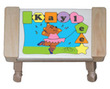 Personalized Ballerina Bear Puzzle Stool in Natural