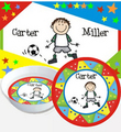 Design A  Placemat with  Matching Melamine Plate & Bowl with Star Border