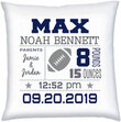 Birth Stats Pillow with Football Graphic