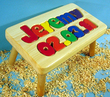 Birthday Puzzle Name Stool in Natural Finish