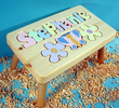 Flower & Butterfly Puzzle Name Stool in Natural Finish