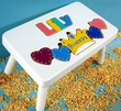 Princess Puzzle Name Stool in White Finish
