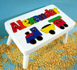 Train Puzzle Name Stool in White
