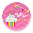 Birthday Cupcake Personalized Melamine Plate for Girls