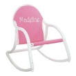 Personalized Child's Rocking Chair with Hot Pink Canvas Seat