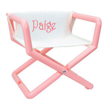 Personalized Jr Director S Chair In Pastel With White Mesh Seat