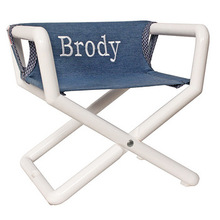 Personalized Jr Director S Chair With Blue Denim Canvas Seat