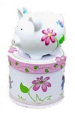Personalized Butterfly & Flower Small Piggy Bank