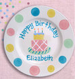 Polka Dot Birthday Plate for Girls with Dot Color Choice